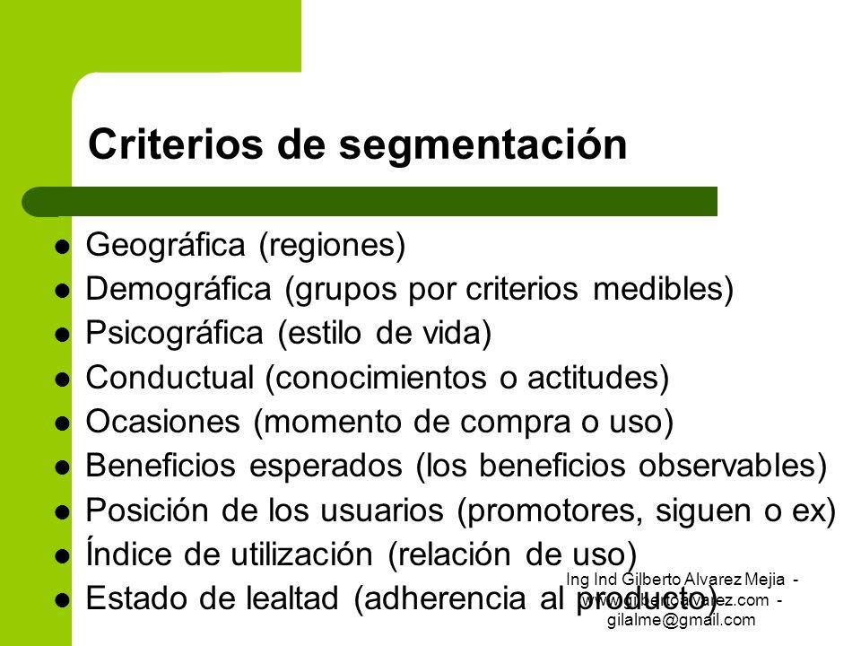 Criterios de segmentación Geográfica (regiones) Demográfica (grupos por criterios medibles) Psicográfica (estilo de vida) Conductual (conocimientos o