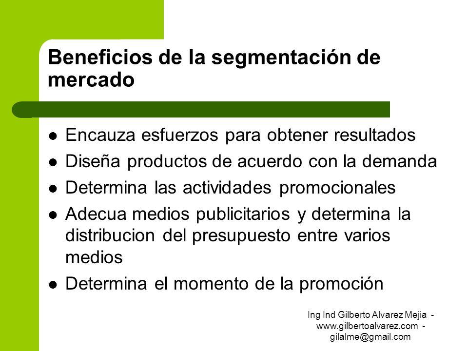 Beneficios de la segmentación de mercado Encauza esfuerzos para obtener resultados Diseña productos de acuerdo con la demanda Determina las actividade