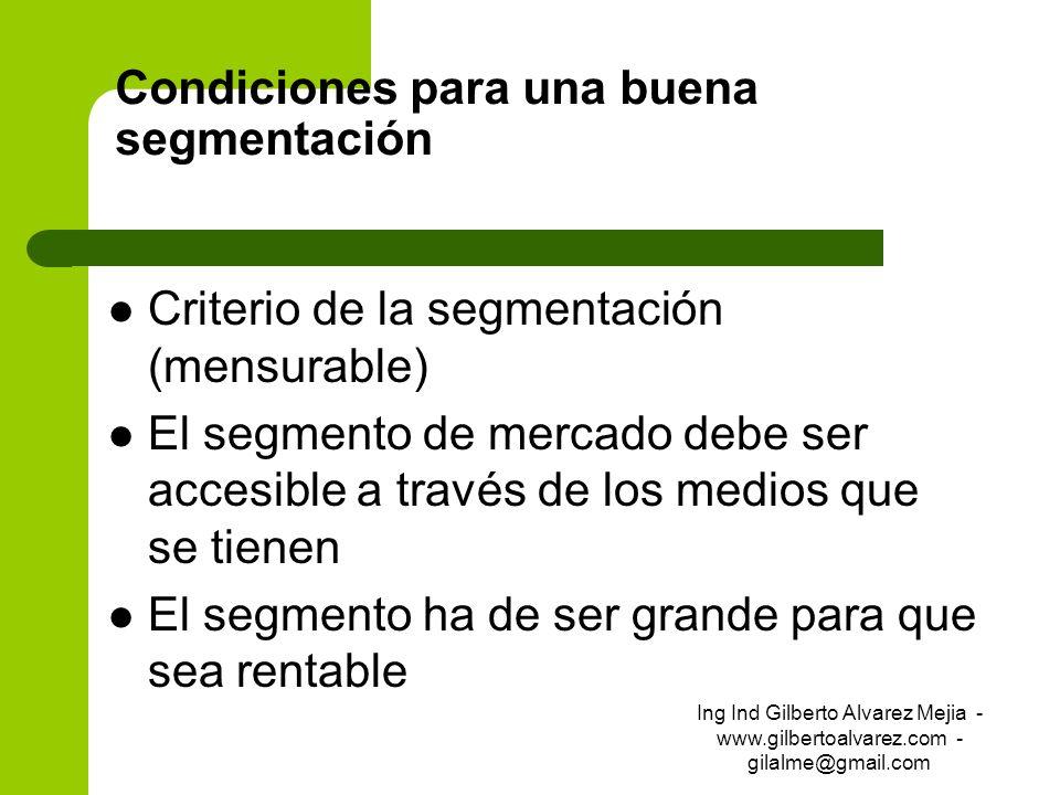 Condiciones para una buena segmentación Criterio de la segmentación (mensurable) El segmento de mercado debe ser accesible a través de los medios que