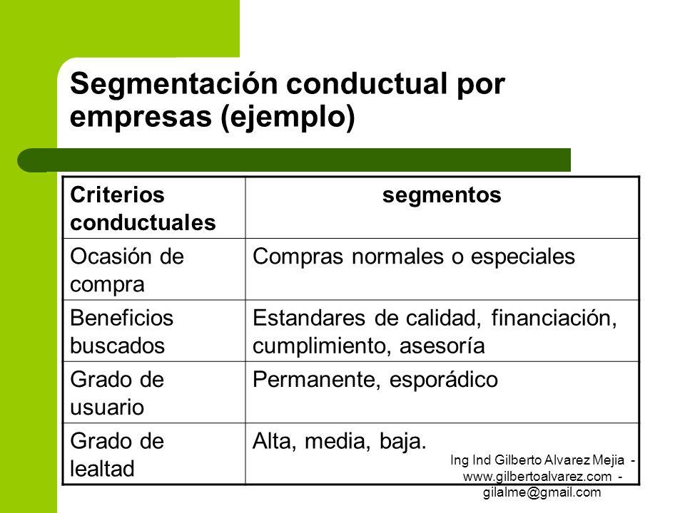 Segmentación conductual por empresas (ejemplo) Criterios conductuales segmentos Ocasión de compra Compras normales o especiales Beneficios buscados Es