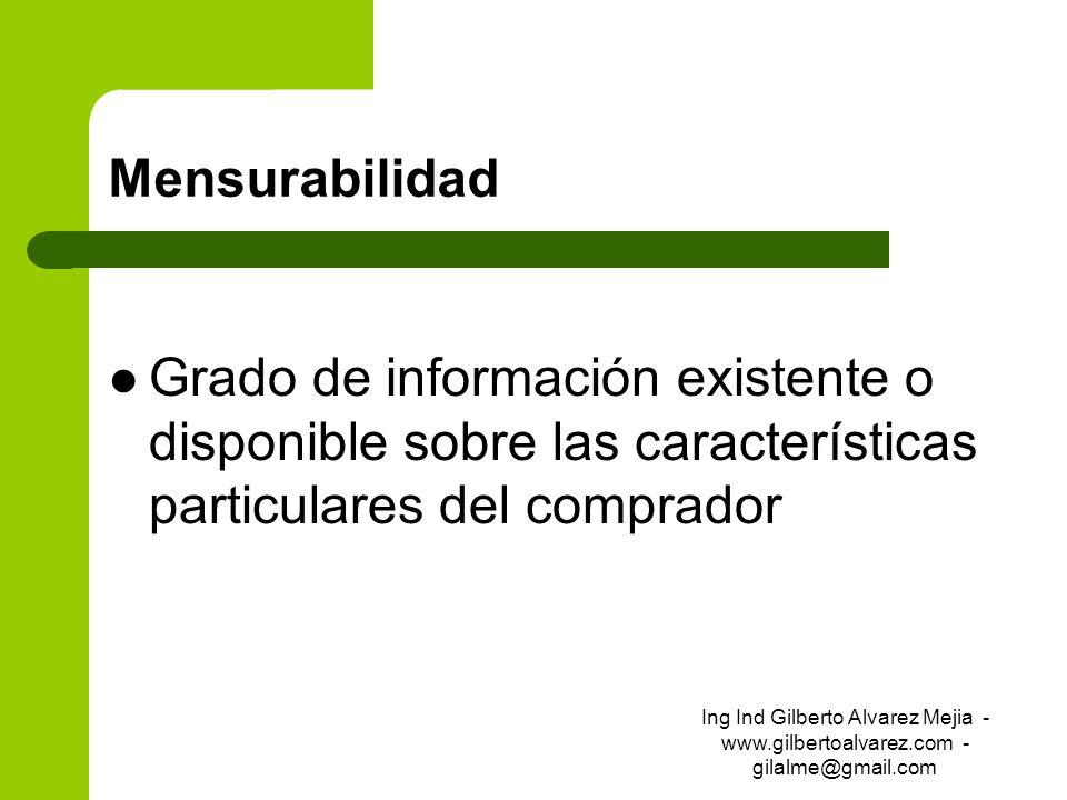 Mensurabilidad Grado de información existente o disponible sobre las características particulares del comprador Ing Ind Gilberto Alvarez Mejia - www.g