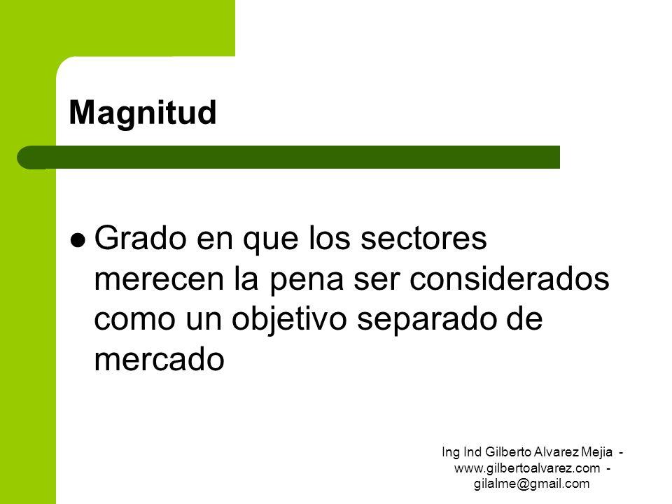 Magnitud Grado en que los sectores merecen la pena ser considerados como un objetivo separado de mercado Ing Ind Gilberto Alvarez Mejia - www.gilberto