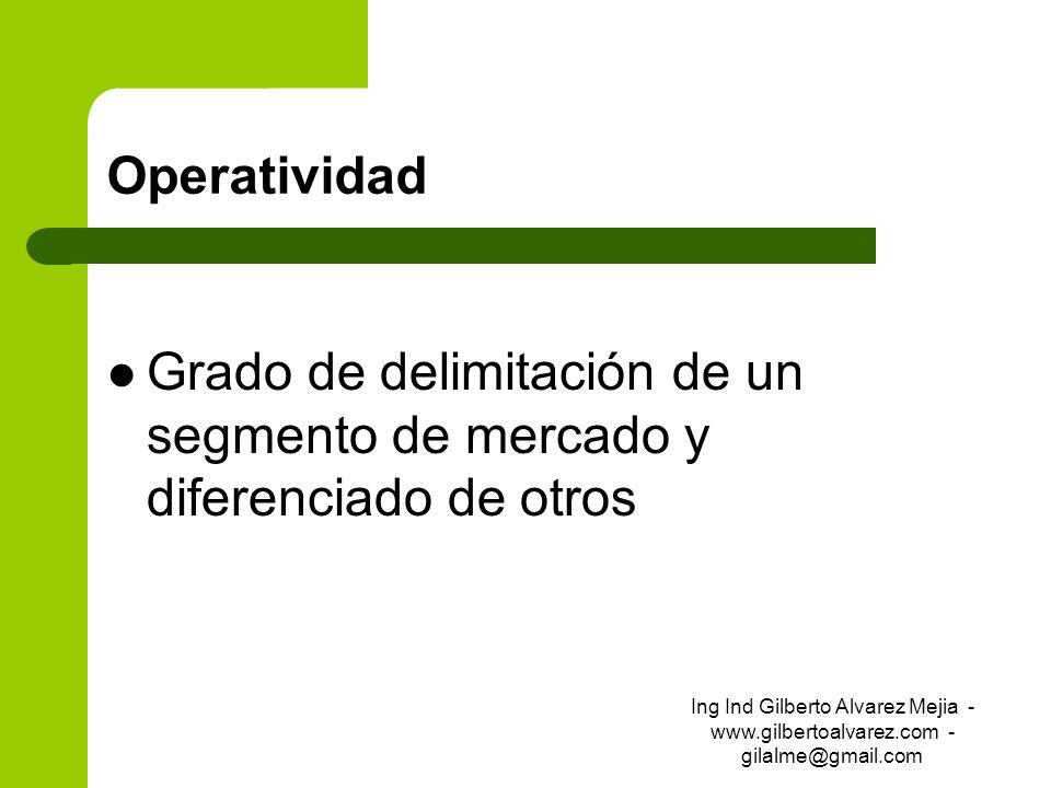 Operatividad Grado de delimitación de un segmento de mercado y diferenciado de otros Ing Ind Gilberto Alvarez Mejia - www.gilbertoalvarez.com - gilalm