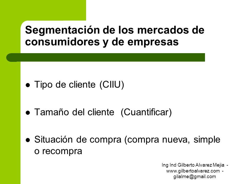 Segmentación de los mercados de consumidores y de empresas Tipo de cliente (CIIU) Tamaño del cliente (Cuantificar) Situación de compra (compra nueva,