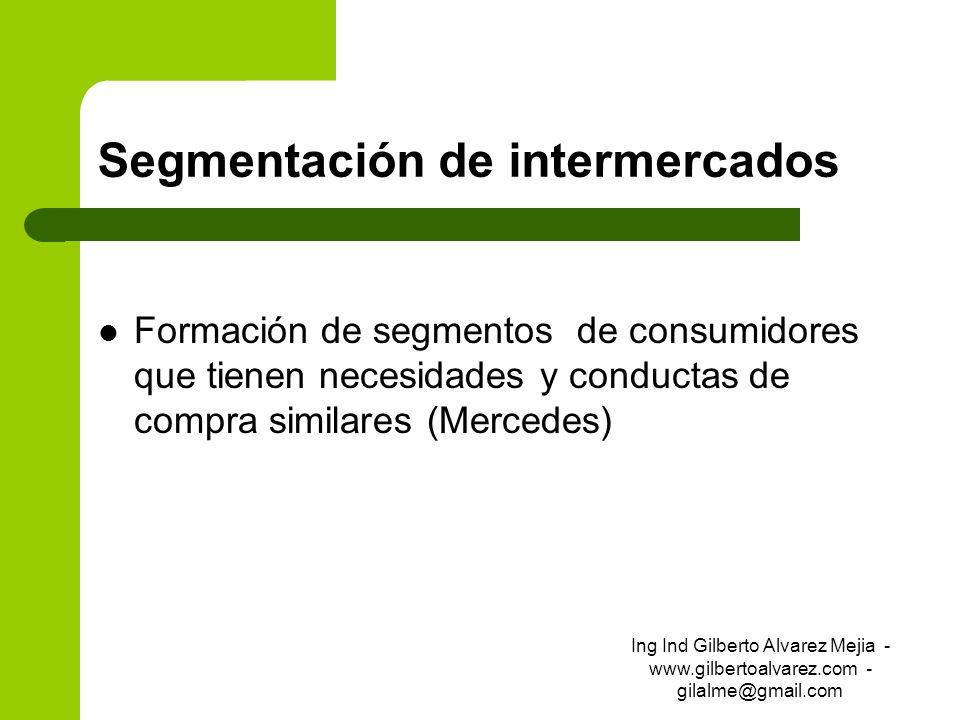 Segmentación de intermercados Formación de segmentos de consumidores que tienen necesidades y conductas de compra similares (Mercedes) Ing Ind Gilbert