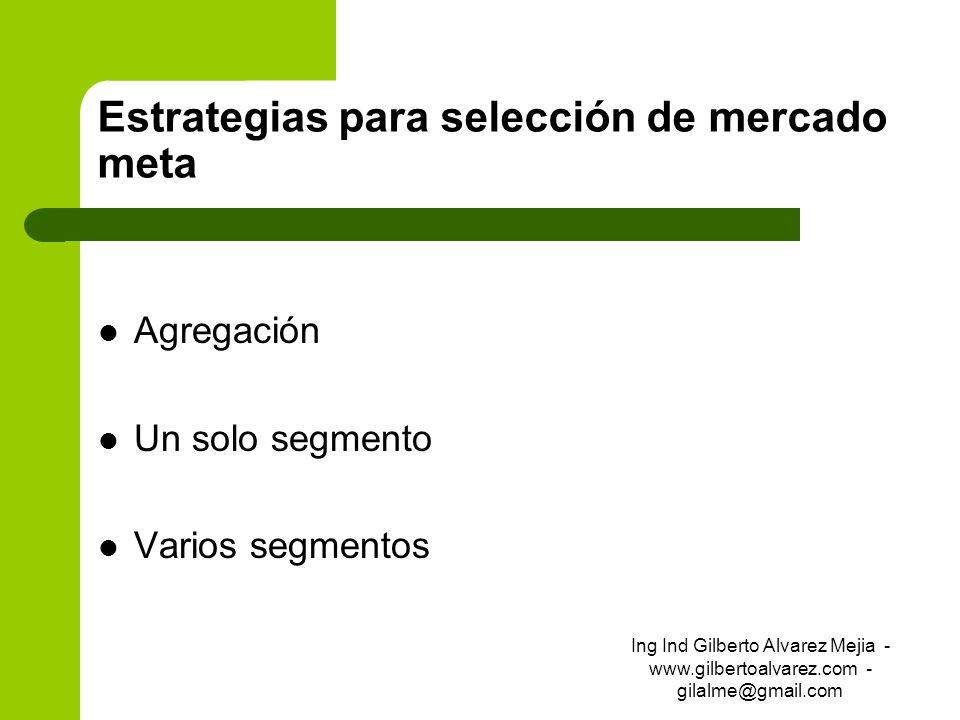 Estrategias para selección de mercado meta Agregación Un solo segmento Varios segmentos Ing Ind Gilberto Alvarez Mejia - www.gilbertoalvarez.com - gil