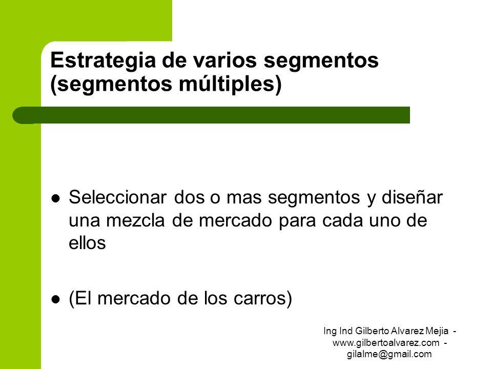Estrategia de varios segmentos (segmentos múltiples) Seleccionar dos o mas segmentos y diseñar una mezcla de mercado para cada uno de ellos (El mercad