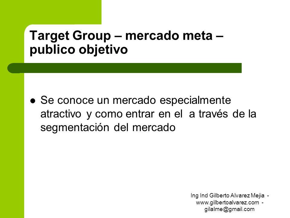 Target Group – mercado meta – publico objetivo Se conoce un mercado especialmente atractivo y como entrar en el a través de la segmentación del mercad