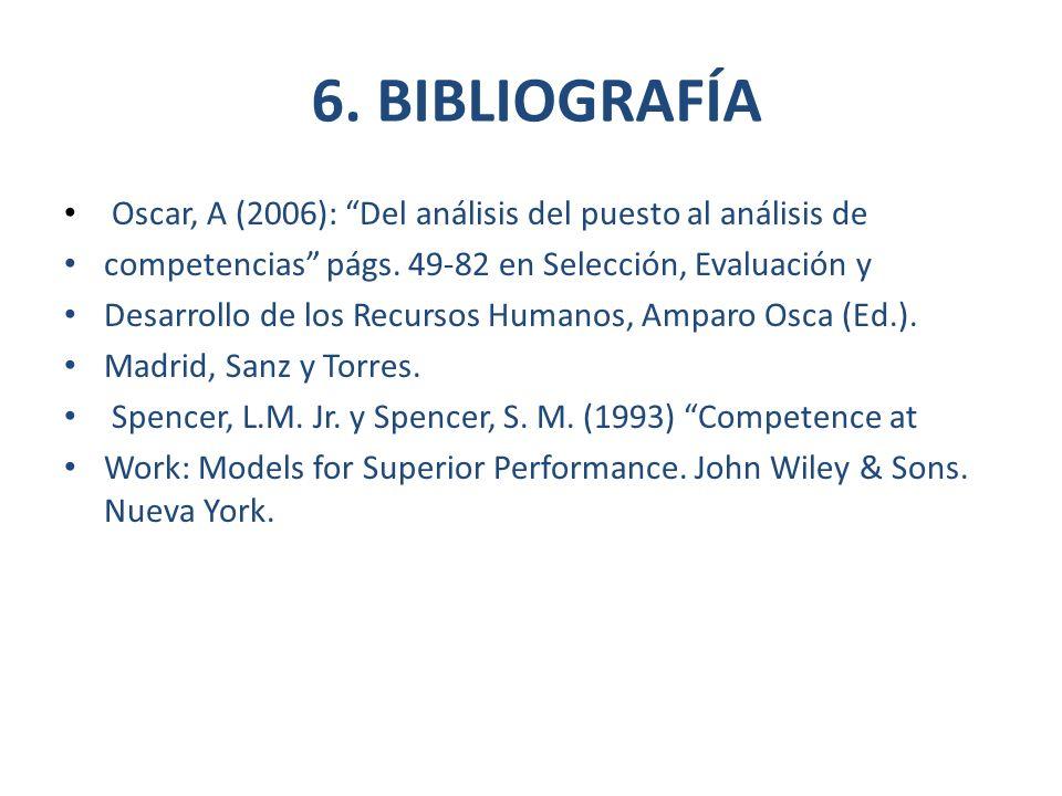 6. BIBLIOGRAFÍA Oscar, A (2006): Del análisis del puesto al análisis de competencias págs. 49-82 en Selección, Evaluación y Desarrollo de los Recursos