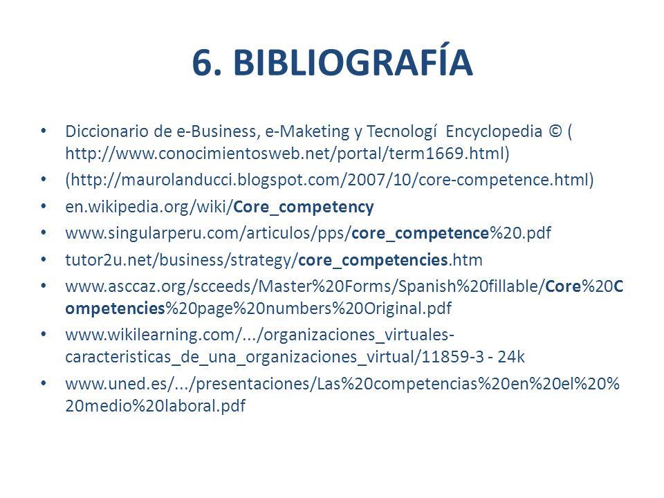 6. BIBLIOGRAFÍA Diccionario de e-Business, e-Maketing y Tecnologí Encyclopedia © ( http://www.conocimientosweb.net/portal/term1669.html) (http://mauro