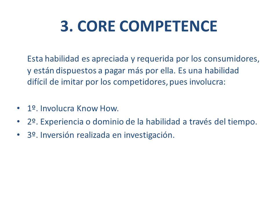3. CORE COMPETENCE Esta habilidad es apreciada y requerida por los consumidores, y están dispuestos a pagar más por ella. Es una habilidad difícil de