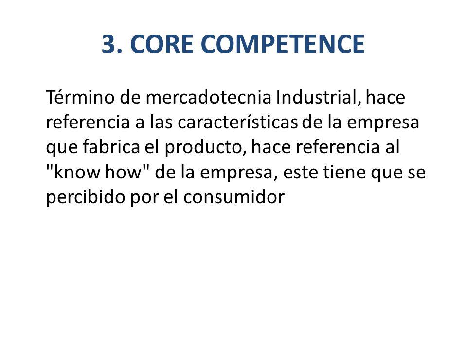 3. CORE COMPETENCE Término de mercadotecnia Industrial, hace referencia a las características de la empresa que fabrica el producto, hace referencia a