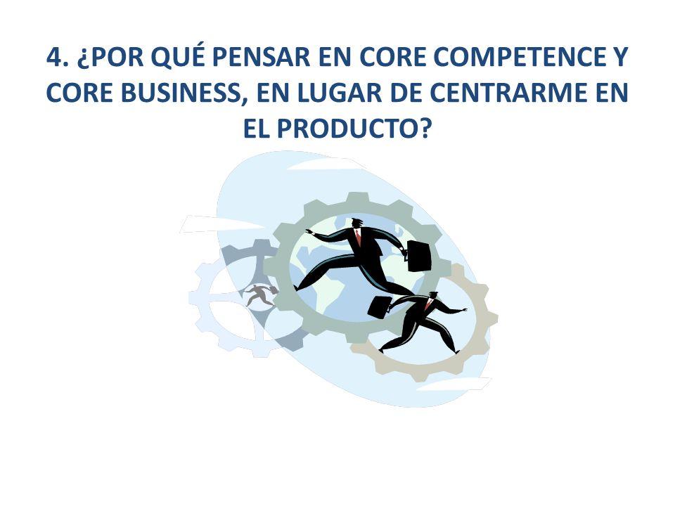 4. ¿POR QUÉ PENSAR EN CORE COMPETENCE Y CORE BUSINESS, EN LUGAR DE CENTRARME EN EL PRODUCTO?