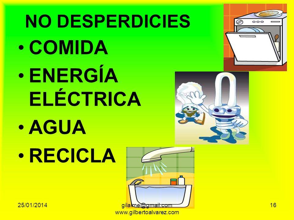 NO DESPERDICIES COMIDA ENERGÍA ELÉCTRICA AGUA RECICLA 25/01/201416gilalme@gmail.com www.gilbertoalvarez.com