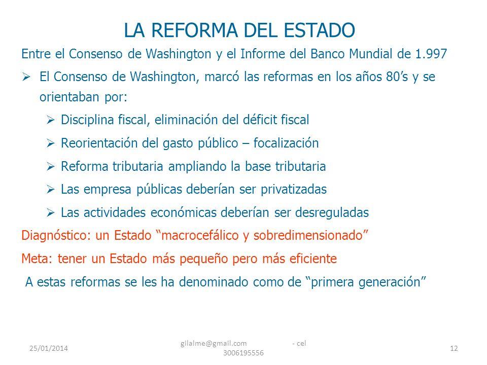 25/01/2014 gilalme@gmail.com - cel 3006195556 12 LA REFORMA DEL ESTADO Entre el Consenso de Washington y el Informe del Banco Mundial de 1.997 El Cons