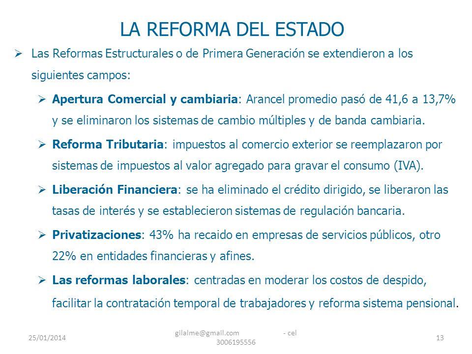 25/01/2014 gilalme@gmail.com - cel 3006195556 13 LA REFORMA DEL ESTADO Las Reformas Estructurales o de Primera Generación se extendieron a los siguien