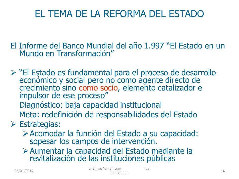 25/01/2014 gilalme@gmail.com - cel 3006195556 14 EL TEMA DE LA REFORMA DEL ESTADO El Informe del Banco Mundial del año 1.997 El Estado en un Mundo en