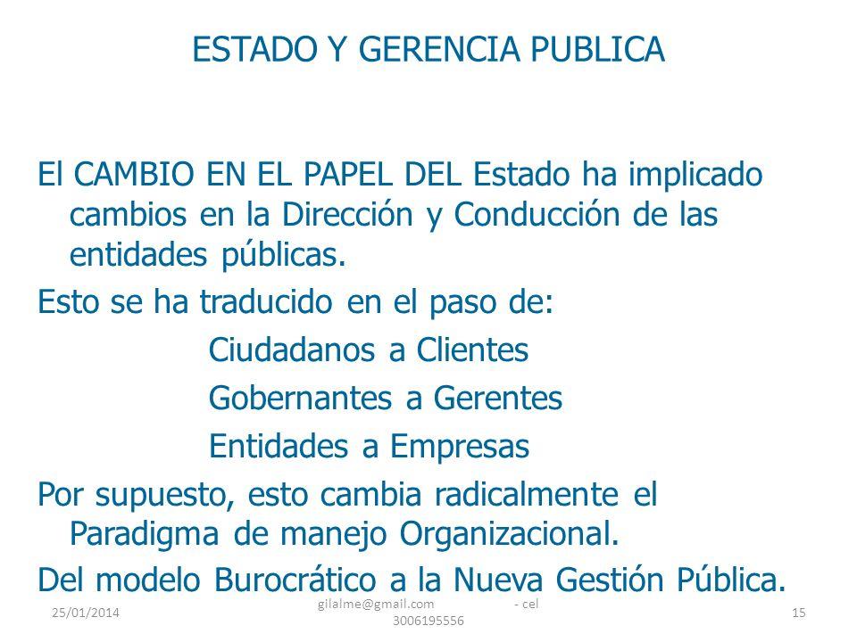 25/01/2014 gilalme@gmail.com - cel 3006195556 15 ESTADO Y GERENCIA PUBLICA El CAMBIO EN EL PAPEL DEL Estado ha implicado cambios en la Dirección y Con