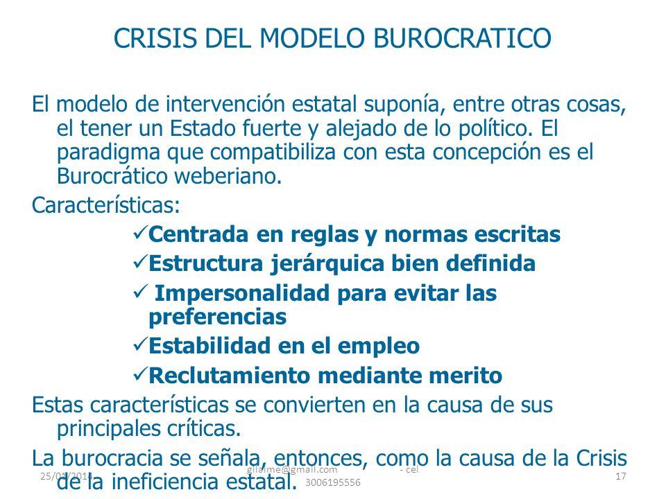 25/01/2014 gilalme@gmail.com - cel 3006195556 17 CRISIS DEL MODELO BUROCRATICO El modelo de intervención estatal suponía, entre otras cosas, el tener