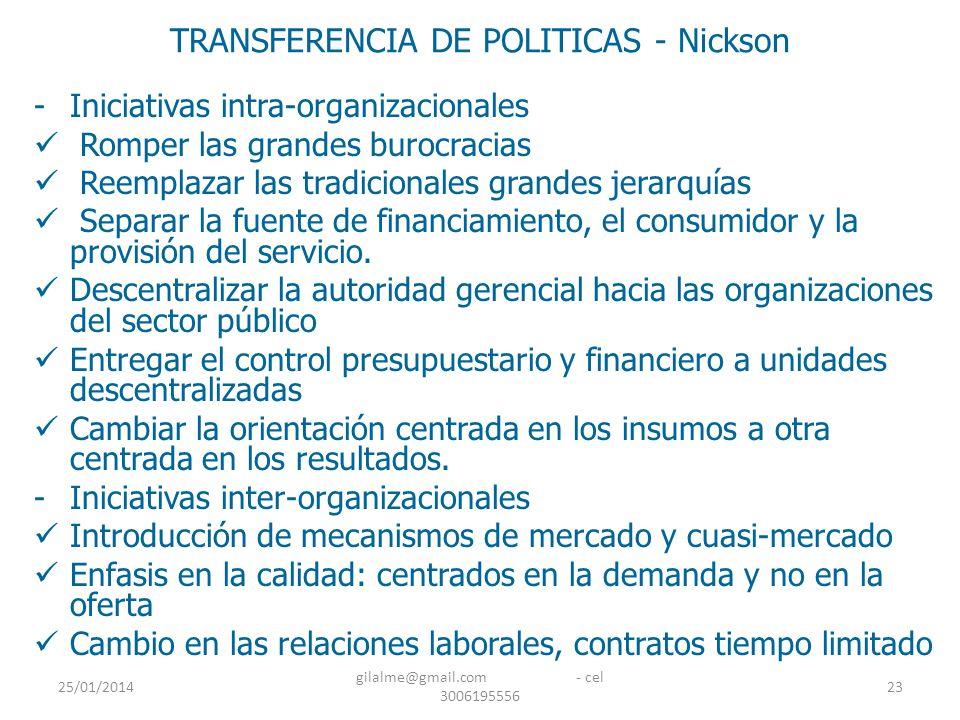 25/01/2014 gilalme@gmail.com - cel 3006195556 23 TRANSFERENCIA DE POLITICAS - Nickson -Iniciativas intra-organizacionales Romper las grandes burocraci