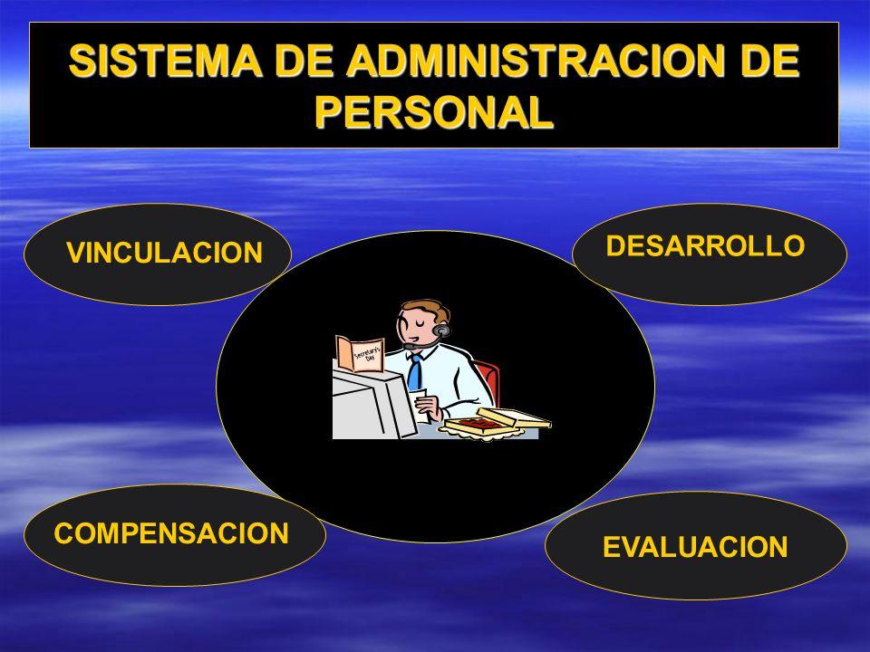 SISTEMA DE ADMINISTRACION DE PERSONAL VINCULACION DESARROLLO EVALUACION COMPENSACION