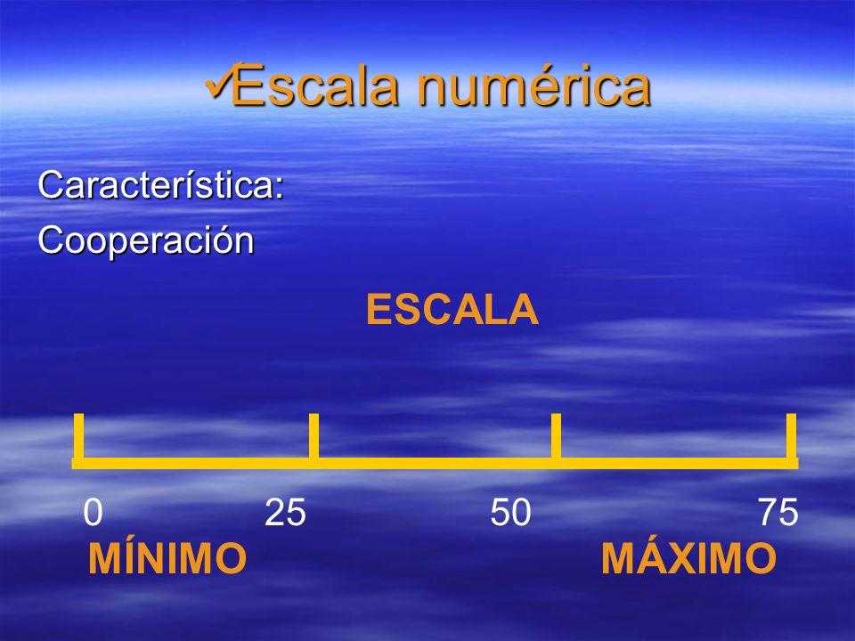 Basadas en una escala numérica o alfabética Basadas en una escala numérica o alfabética Un extremo representa lo máximo o mejor y el otro lo mínimo o peor.