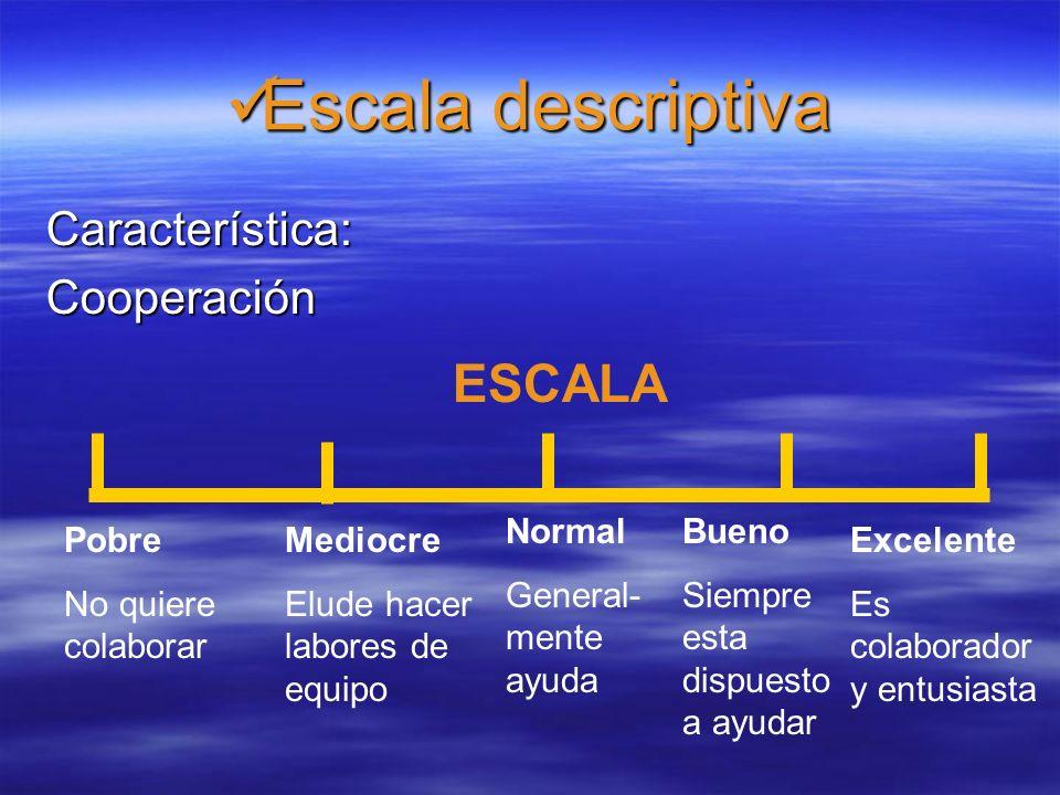 Escala de adjetivos Escala de adjetivos CaracterísticaAdaptación ESCALA Mediocre Normal Bueno Excelente