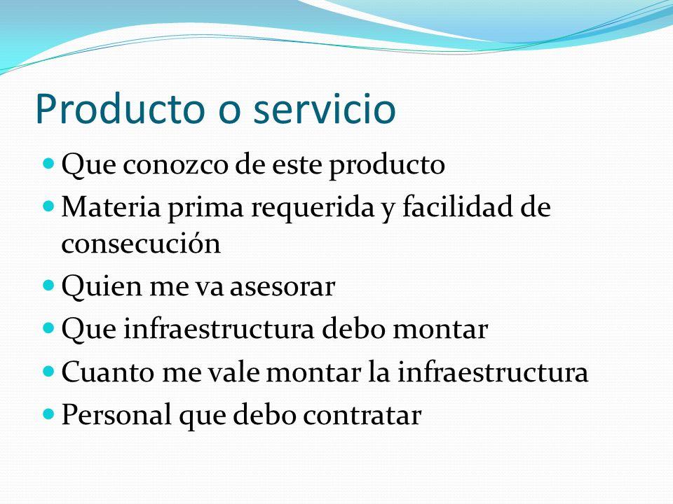 Como desarrollo mi idea Que voy a vender Que requisitos debe cumplir mi producto ó servicio A quien le voy a vender Cuanto voy a vender A que precio C