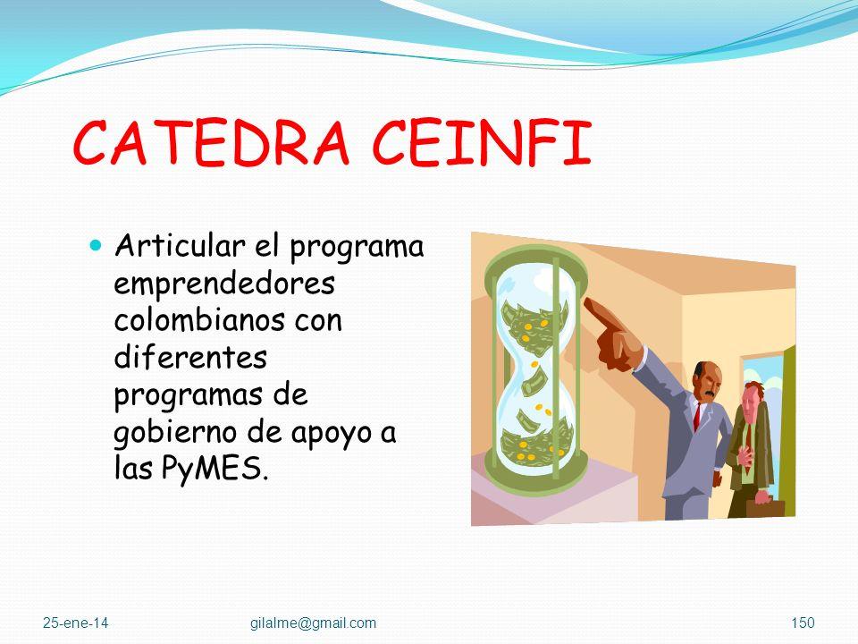 CATEDRA CEINFI atacar la tendencia a la empleomanía profesional, renovar la clase empresarial colombiana a largo plazo, promocionar el espíritu empres