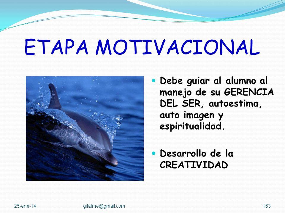 ETAPA MOTIVACIONAL Debe orientarse en los primeros semestres o en el primer capítulo de la cátedra, cuando esta sólo es de un semestre. En el caso de