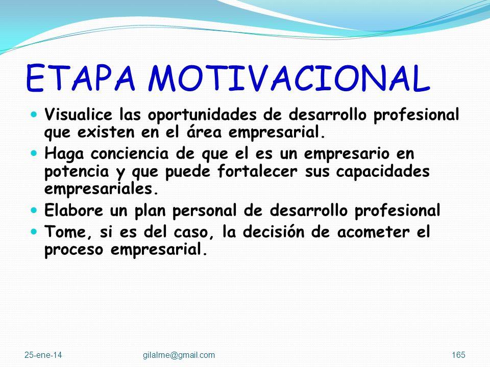 ETAPA MOTIVACIONAL Esta etapa esta orientada a que el estudiante: Comprenda las implicaciones económicas, sociales, historias, sociológicas, profesion