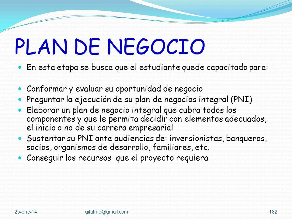 PLAN DE NEGOCIO ASPECTOS IMPORTANTES TECNICA – PRODUCCION MERCADO ADMINISTRATIVO LEGAL ECONOMICO FINANCIERO IMPACTOS 25-ene-14gilalme@gmail.com181
