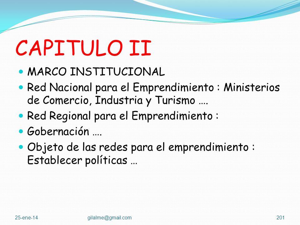 CAPITULO I DISPOSICIONES GENERALES Definiciones : Cultura, emprendedor … Objeto de la ley : Promover el espíritu emprendedor, disponer de un conjunto