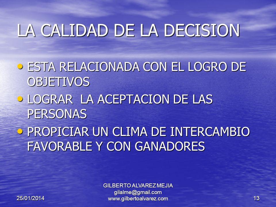 25/01/2014 GILBERTO ALVAREZ MEJIA gilalme@gmail.com www.gilbertoalvarez.com12 ERRORES EN LA TOMA DE DECISIONES AUSENCIA DE OBJETIVOS CLAROS AUSENCIA DE OBJETIVOS CLAROS FALTA DE INFORMACION FALTA DE INFORMACION FALTA DE CAPACIDAD FALTA DE CAPACIDAD FALTA DE INTERES FALTA DE INTERES INDECISION INDECISION PRECIPITACION PRECIPITACION EXCESO DE INFORMACION EXCESO DE INFORMACION LA INTUICION LA INTUICION SEGUIMIENTO A LA MAYORIA SEGUIMIENTO A LA MAYORIA FALTA DE UNA METODOLOGIA FALTA DE UNA METODOLOGIA