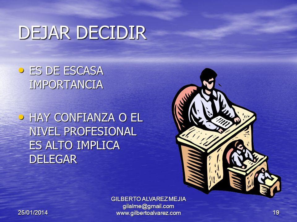 25/01/2014 GILBERTO ALVAREZ MEJIA gilalme@gmail.com www.gilbertoalvarez.com18 FASES EN EL PROCESO DE TOMA DE DECISIONES ESTABLECER EL OBJETIVO IEDNTIFICAR ALTERNATIVAS EVALUAR ALTERNATIVAS SELECCIONAR ALTERNATIVAS IMPLANTAR LA DECISION CONTROL DE LA DECISION