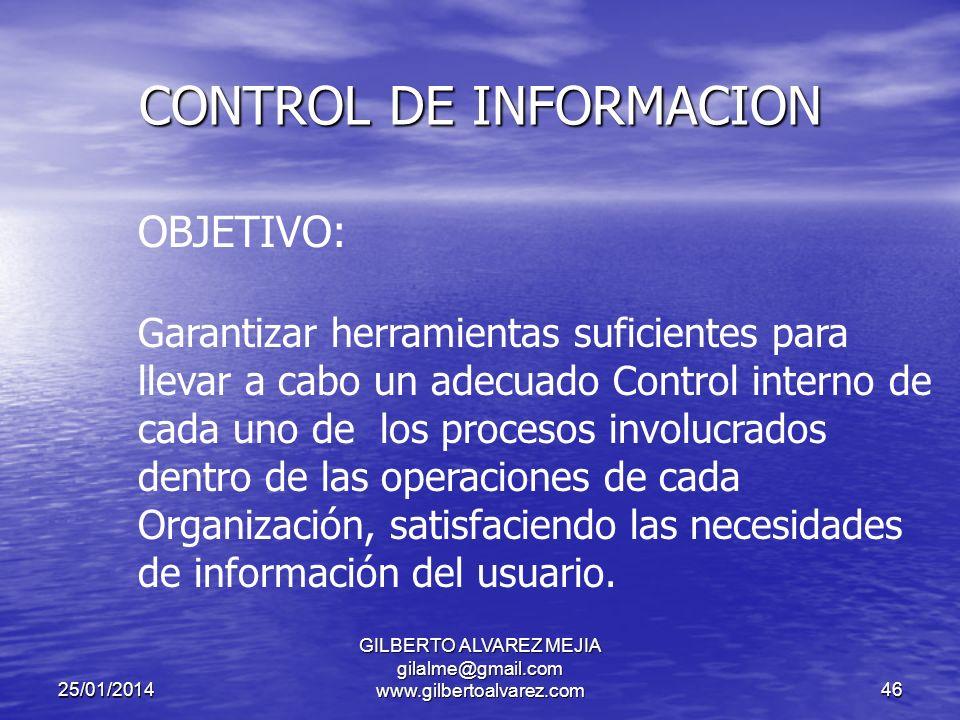 25/01/2014 GILBERTO ALVAREZ MEJIA gilalme@gmail.com www.gilbertoalvarez.com45 CONTROL DE INFORMACION Todas las funciones administrativas, Planificación, Organización, Dirección y Control dependen de un flujo constante de información, en cuanto a lo que está pasando en una organización y más allá de ella.