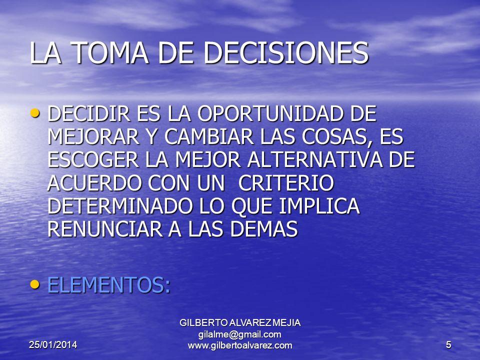 25/01/2014 GILBERTO ALVAREZ MEJIA gilalme@gmail.com www.gilbertoalvarez.com5 LA TOMA DE DECISIONES DECIDIR ES LA OPORTUNIDAD DE MEJORAR Y CAMBIAR LAS COSAS, ES ESCOGER LA MEJOR ALTERNATIVA DE ACUERDO CON UN CRITERIO DETERMINADO LO QUE IMPLICA RENUNCIAR A LAS DEMAS DECIDIR ES LA OPORTUNIDAD DE MEJORAR Y CAMBIAR LAS COSAS, ES ESCOGER LA MEJOR ALTERNATIVA DE ACUERDO CON UN CRITERIO DETERMINADO LO QUE IMPLICA RENUNCIAR A LAS DEMAS ELEMENTOS: ELEMENTOS: