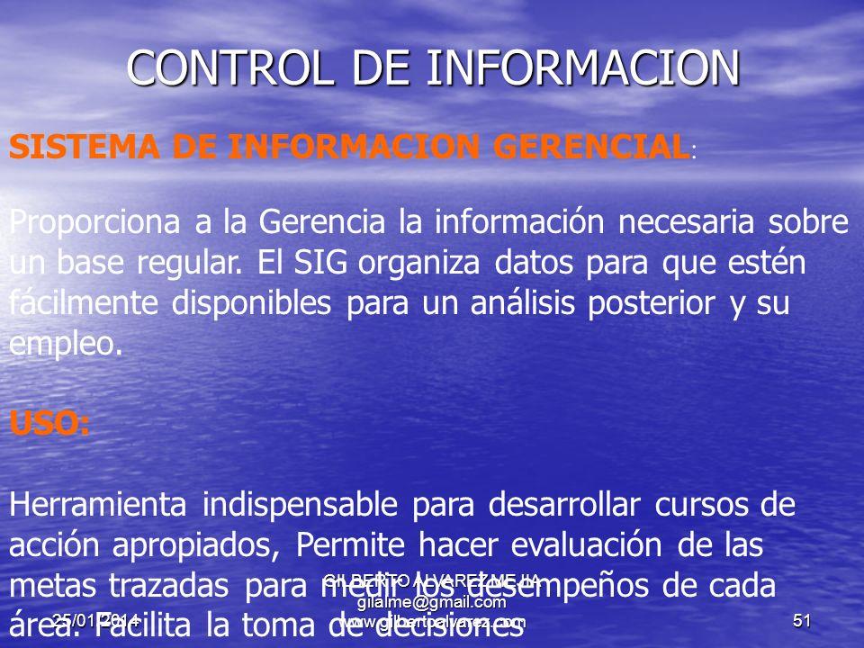 25/01/2014 GILBERTO ALVAREZ MEJIA gilalme@gmail.com www.gilbertoalvarez.com50 CONTROL DE INFORMACION COMUNICACIÓN ORGANIZACIONAL: Es fundamental para una información coherente, eficiente y eficaz tener claramente definidos los canales de comunicación pues de ello depende que la información a procesar sea Exacta, confiable y oportuna.