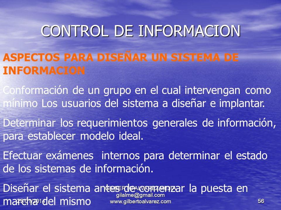 25/01/2014 GILBERTO ALVAREZ MEJIA gilalme@gmail.com www.gilbertoalvarez.com55 CONTROL DE INFORMACION FUNCIONES CLAVES PARA LA TOMA DE DECISIONES: COMPRENSION: Captar lo que esta sucediendo CONFIRMACION: Especificidad de lo indagado DIAGNOSTICO: Establecer causas y efectos PREDICCION: Mejoramiento de Procesos existentes