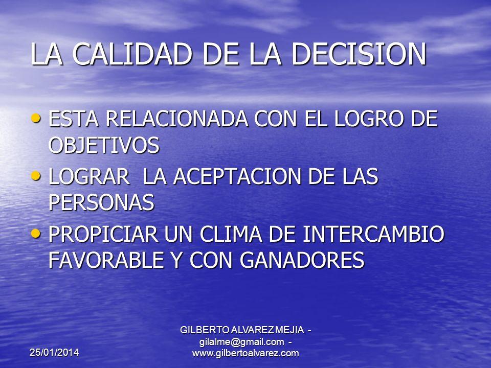 25/01/2014 GILBERTO ALVAREZ MEJIA - gilalme@gmail.com - www.gilbertoalvarez.com ERRORES EN LA TOMA DE DECISIONES AUSENCIA DE OBJETIVOS CLAROS AUSENCIA DE OBJETIVOS CLAROS FALTA DE INFORMACION FALTA DE INFORMACION FALTA DE CAPACIDAD FALTA DE CAPACIDAD FALTA DE INTERES FALTA DE INTERES INDECISION INDECISION PRECIPITACION PRECIPITACION EXCESO DE INFORMACION EXCESO DE INFORMACION LA INTUICION LA INTUICION SEGUIMIENTO A LA MAYORIA SEGUIMIENTO A LA MAYORIA FALTA DE UNA METODOLOGIA FALTA DE UNA METODOLOGIA