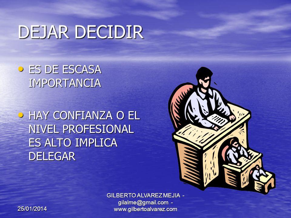 25/01/2014 GILBERTO ALVAREZ MEJIA - gilalme@gmail.com - www.gilbertoalvarez.com FASES EN EL PROCESO DE TOMA DE DECISIONES ESTABLECER EL OBJETIVO IEDNTIFICAR ALTERNATIVAS EVALUAR ALTERNATIVAS SELECCIONAR ALTERNATIVAS IMPLANTAR LA DECISION CONTROL DE LA DECISION