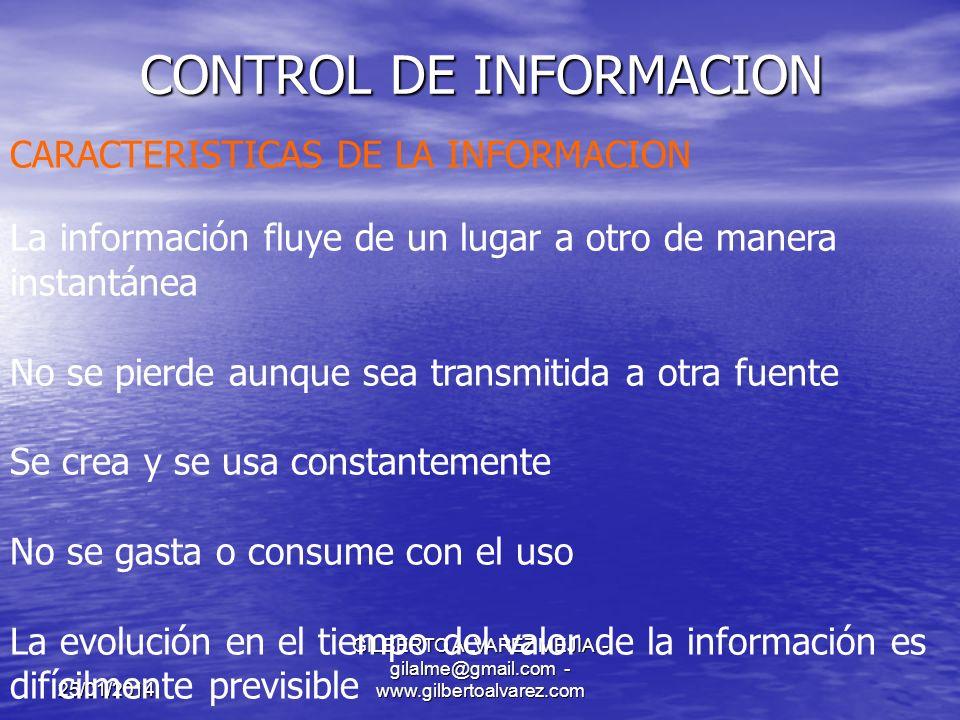 25/01/2014 GILBERTO ALVAREZ MEJIA - gilalme@gmail.com - www.gilbertoalvarez.com CONTROL DE INFORMACION OBJETIVO: Garantizar herramientas suficientes para llevar a cabo un adecuado Control interno de cada uno de los procesos involucrados dentro de las operaciones de cada Organización, satisfaciendo las necesidades de información del usuario.