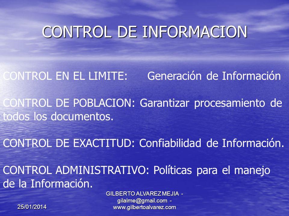 25/01/2014 GILBERTO ALVAREZ MEJIA - gilalme@gmail.com - www.gilbertoalvarez.com CONTROL DE INFORMACION CLASES: CONTROL MANUAL: No se requieren herramientas especiales CONTROL AUTOMATICO: Requiere de mecanismos electrónicos CONTROL PREVENTIVO:Evitar hechos que puedan afectar los sistemas de información.