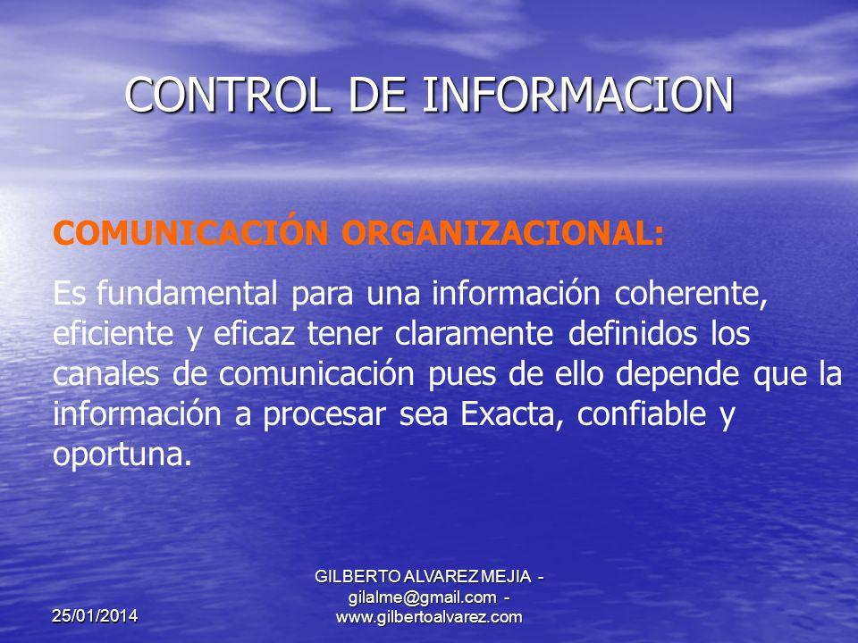 25/01/2014 GILBERTO ALVAREZ MEJIA - gilalme@gmail.com - www.gilbertoalvarez.com CONTROL DE INFORMACION CONTROL EN EL LIMITE:Generación de Información CONTROL DE POBLACION: Garantizar procesamiento de todos los documentos.