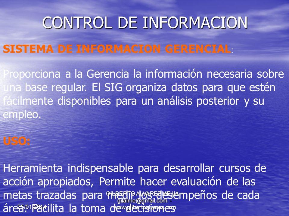 25/01/2014 GILBERTO ALVAREZ MEJIA - gilalme@gmail.com - www.gilbertoalvarez.com CONTROL DE INFORMACION COMUNICACIÓN ORGANIZACIONAL: Es fundamental para una información coherente, eficiente y eficaz tener claramente definidos los canales de comunicación pues de ello depende que la información a procesar sea Exacta, confiable y oportuna.