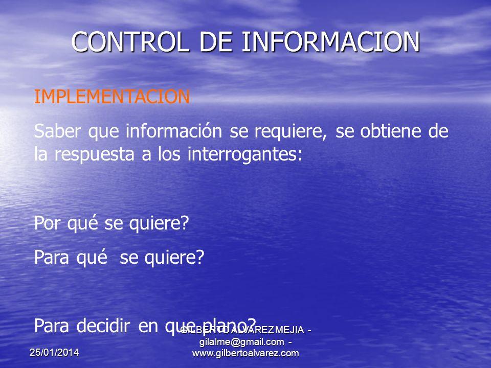 25/01/2014 GILBERTO ALVAREZ MEJIA - gilalme@gmail.com - www.gilbertoalvarez.com CONTROL DE INFORMACION REQUERIMIENTOS DE INFORMACION POR CATEGORIA DE DECISION.