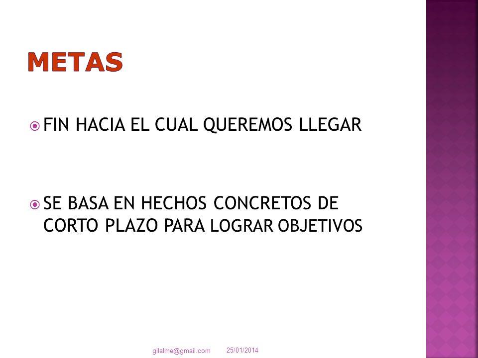 FIN HACIA EL CUAL QUEREMOS LLEGAR SE BASA EN HECHOS CONCRETOS DE CORTO PLAZO PARA LOGRAR OBJETIVOS 25/01/2014 gilalme@gmail.com