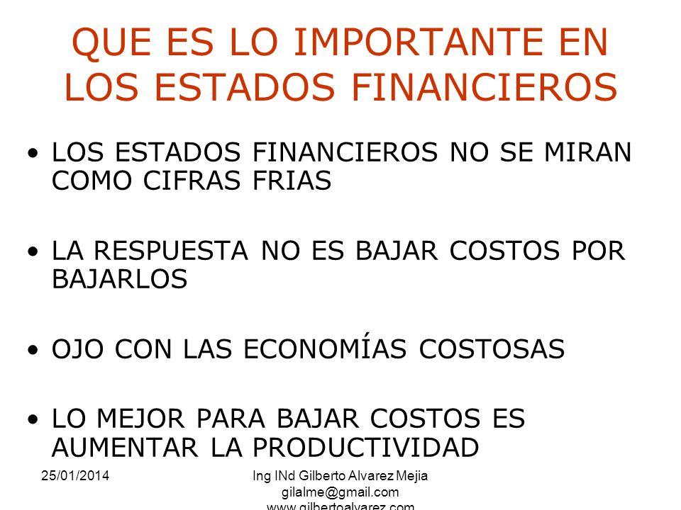 25/01/2014Ing INd Gilberto Alvarez Mejia gilalme@gmail.com www.gilbertoalvarez.com QUE ES LO IMPORTANTE EN LOS ESTADOS FINANCIEROS LOS ESTADOS FINANCI