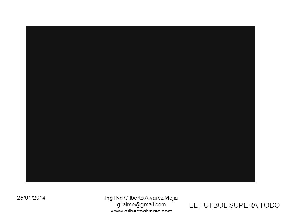 25/01/2014Ing INd Gilberto Alvarez Mejia gilalme@gmail.com www.gilbertoalvarez.com EL FUTBOL SUPERA TODO