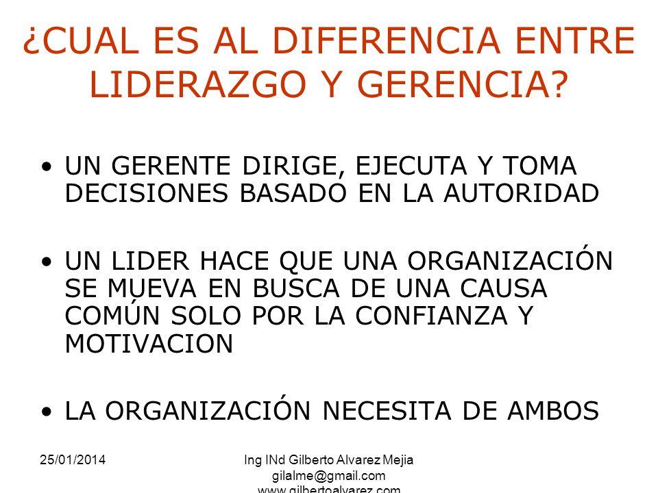 25/01/2014Ing INd Gilberto Alvarez Mejia gilalme@gmail.com www.gilbertoalvarez.com ¿CUAL ES AL DIFERENCIA ENTRE LIDERAZGO Y GERENCIA? UN GERENTE DIRIG